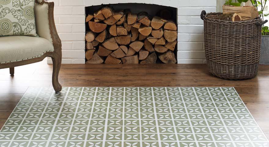 green designer flooring in a sitting room
