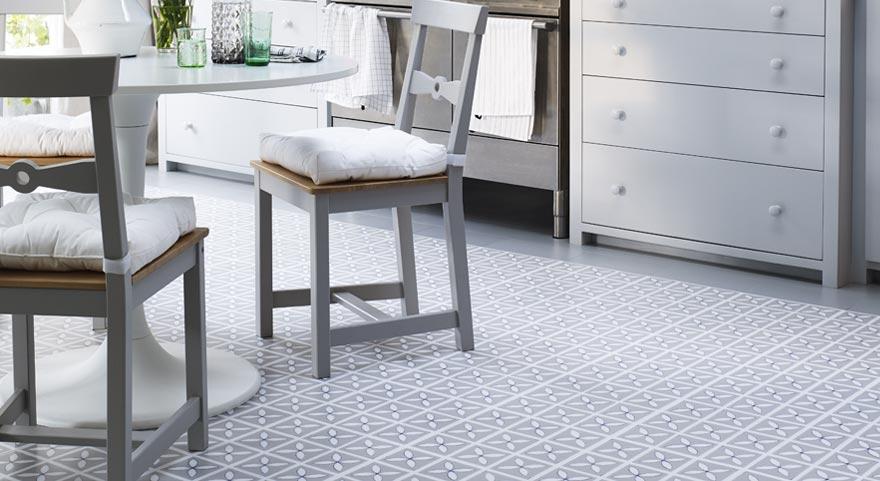 grey designer vinyl floor in a kitchen
