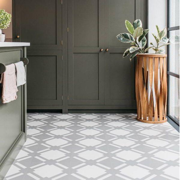 Gray lvt flooring in a kitchen