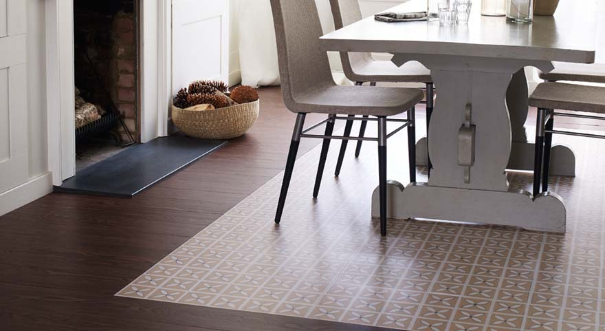 wood effect and cream dining room vinyl flooring