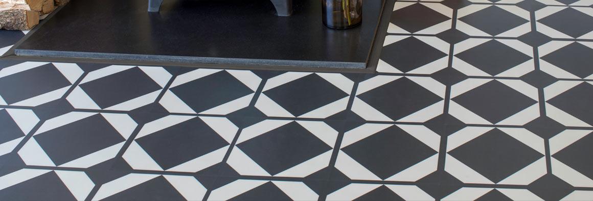 Black Vinyl Flooring with Pattern