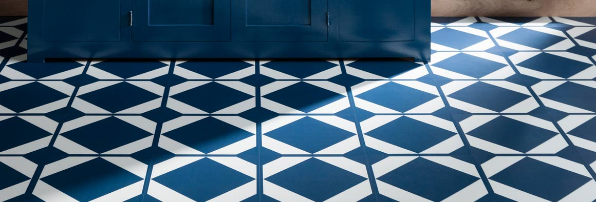 Vinyl Flooring with Blue & White Pattern