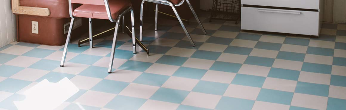 Blue retro vinyl flooring in a kitchen