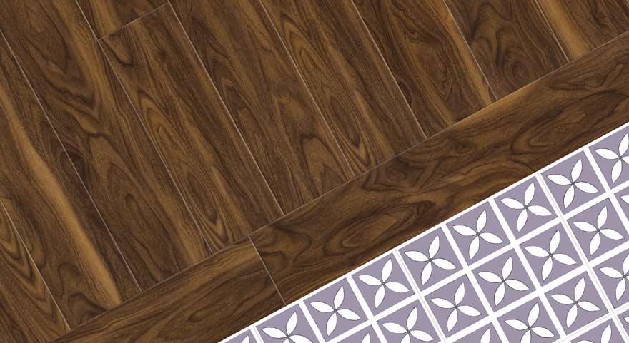 wood effect with purple vinyl floor
