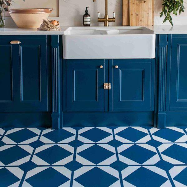 oxford blue kitchen floor tiles with butler sink