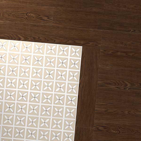 Antique oak floor with cream petal pattern