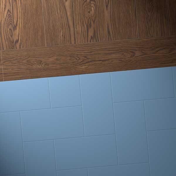 Oak vinyl planks with blue flooring