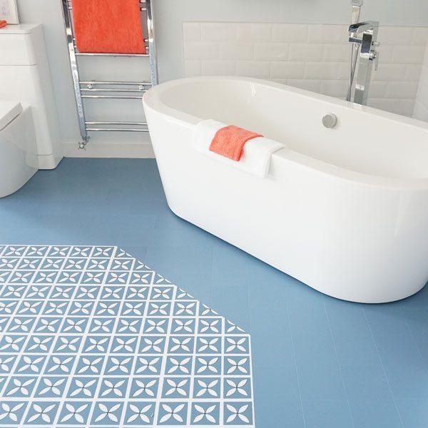 Blue flooring in a bathroom