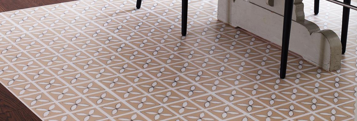 Beige Designer Vinyl Flooring with Lattice Pattern