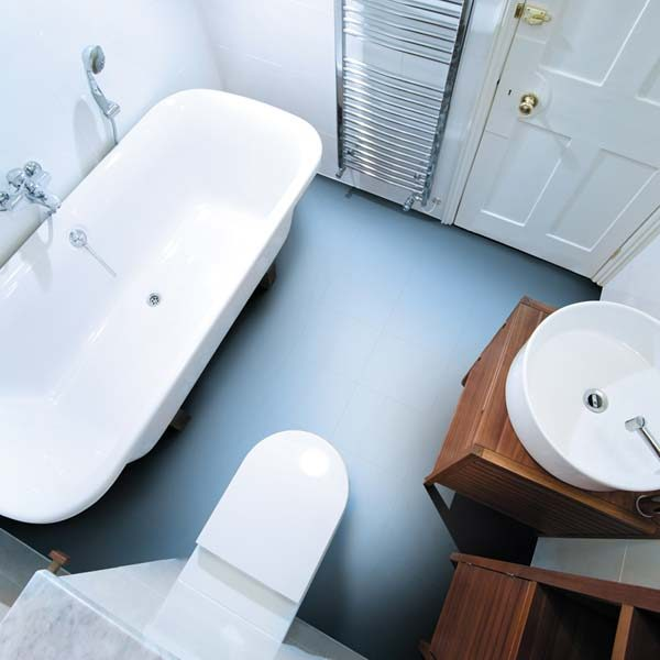 LIght blue vinyl flooring in a bathroom