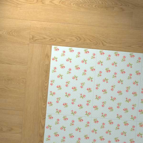 oak floor border with rose sprig blue