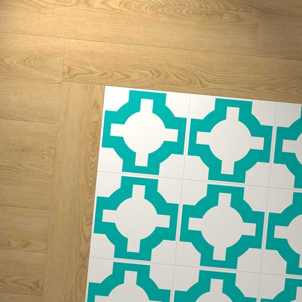 Turquoise vinyl design with wood border
