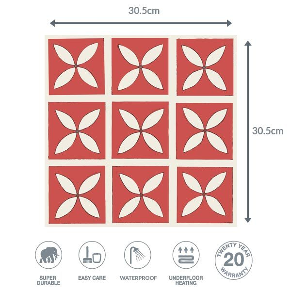 Dimensions of cherry red floor