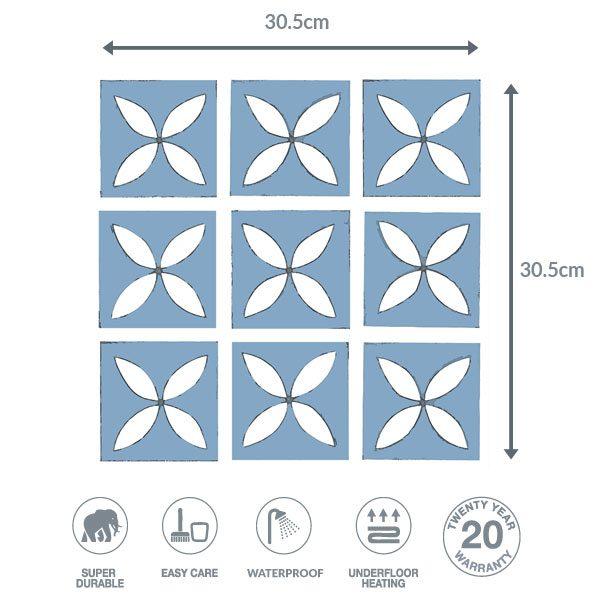 blue floor dimensions