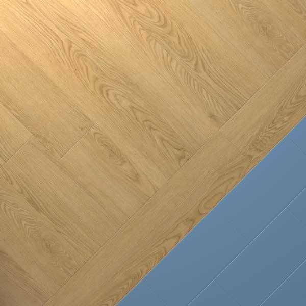oak vinyl combo with blue vinyl floor