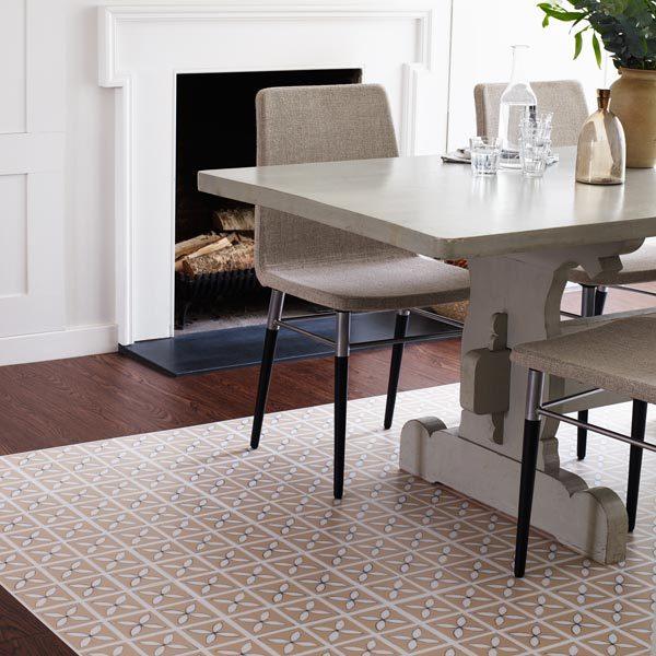 Dining room with cream designer floor