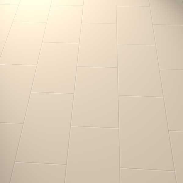 cream vinyl tiles in a brick pattern