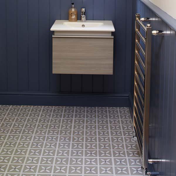 Grey designer floor in a bathroom