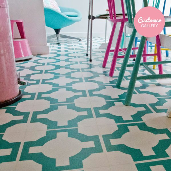 Turquoise vinyl designer flooring in a kitchen