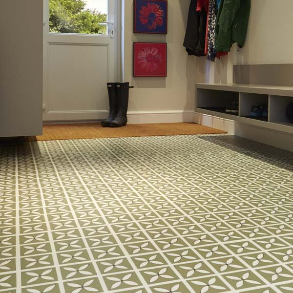 Green designer flooring in a hallway