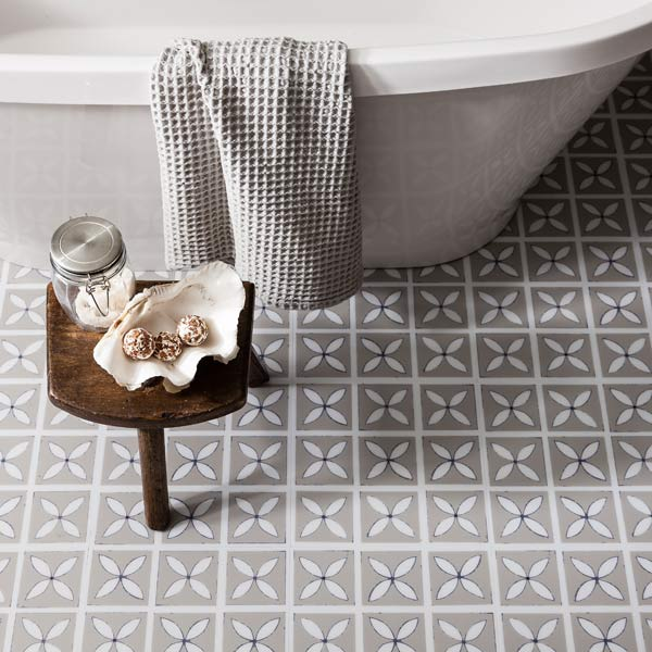 Pebble Grey designer flooring in a bathroom