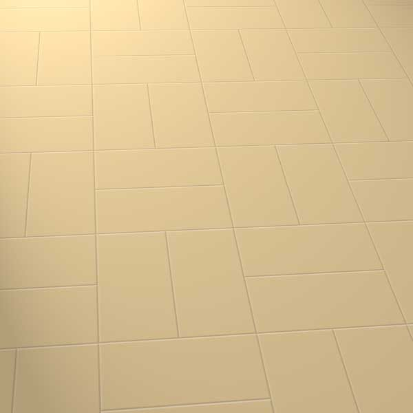 Plain beige vinyl floor in a basket laying pattern