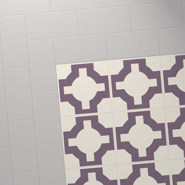grey colour tile with purple celtic design