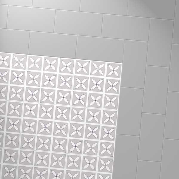 Grey vinyl tiles with a designer floor