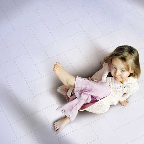 light pink floor with girl sitting
