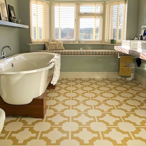 Bathroom floor with golden pattern