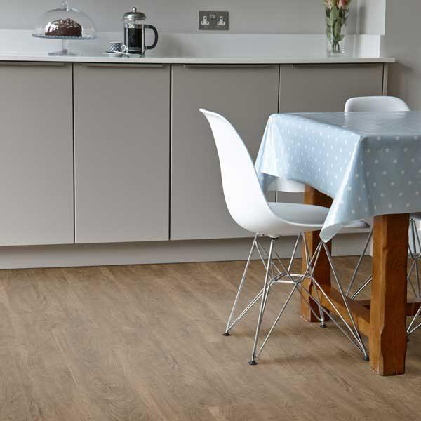 oak effect floor in a dining room