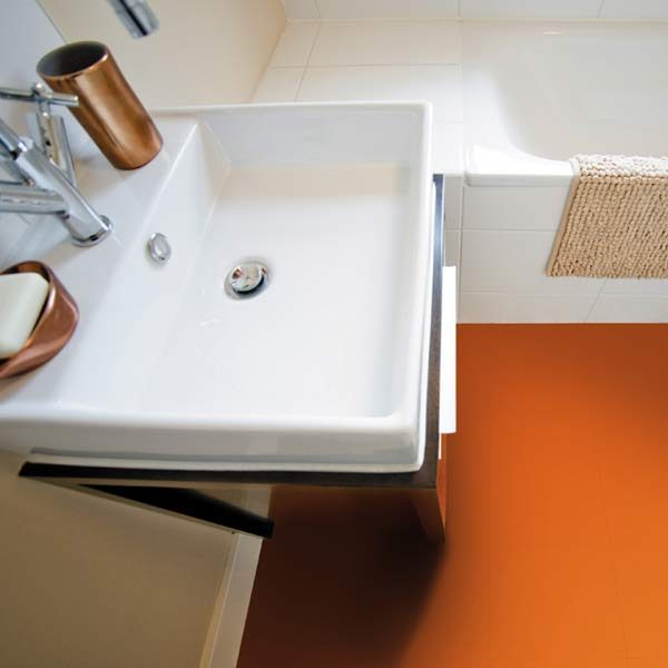 Orange bathroom vinyl floor