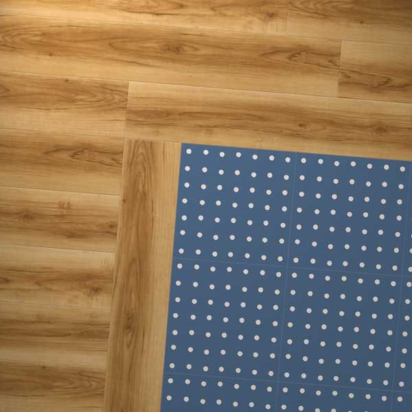 wood and dark blue spot design combo