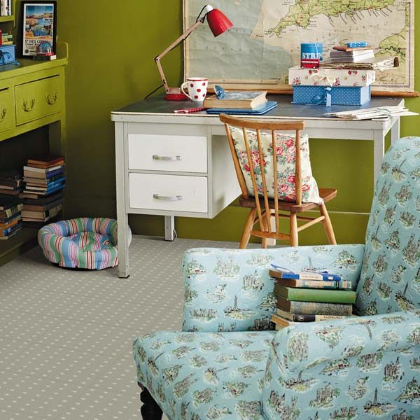 Grey polka dot floor in a child's bedroom