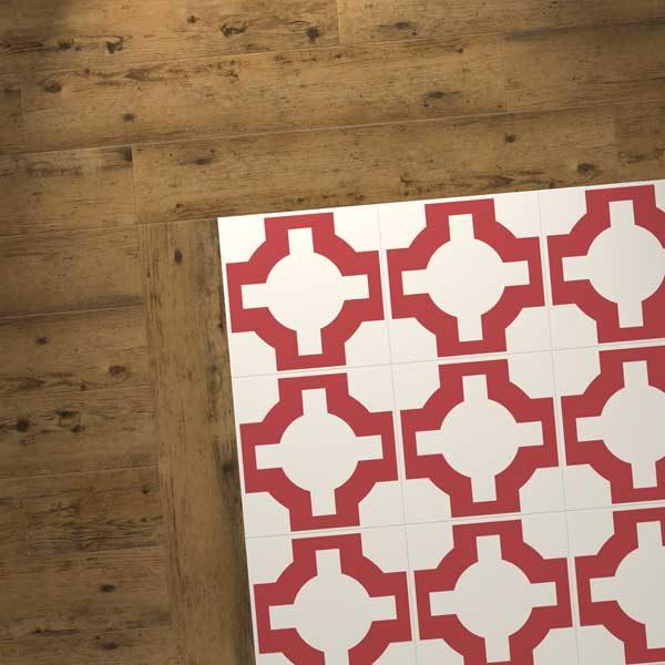 wood vinyl combo with red designer floor