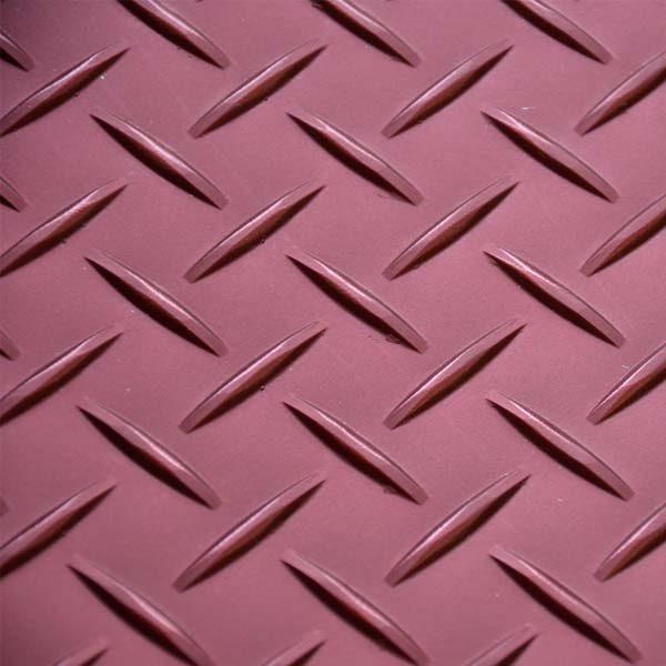 Red tread plate vinyl floor