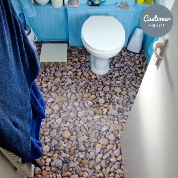 River Stones flooring in a toilet