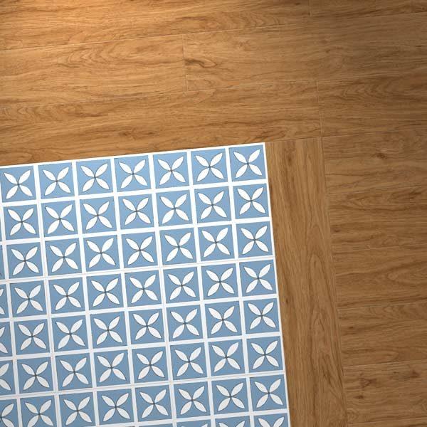 blue petal pattern with wood vinyl border