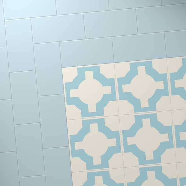 Blue border with light blue designer floor