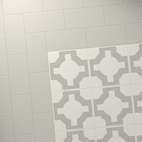 grey tiles border with parquet stone design