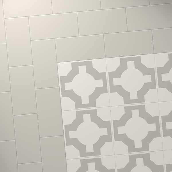 Grey Tiles Border With Parquet Stone Design