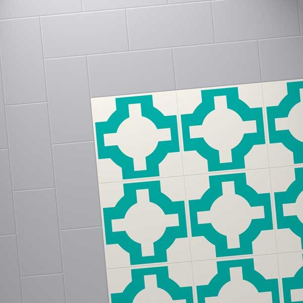Turquoise floor design with steel coloured border