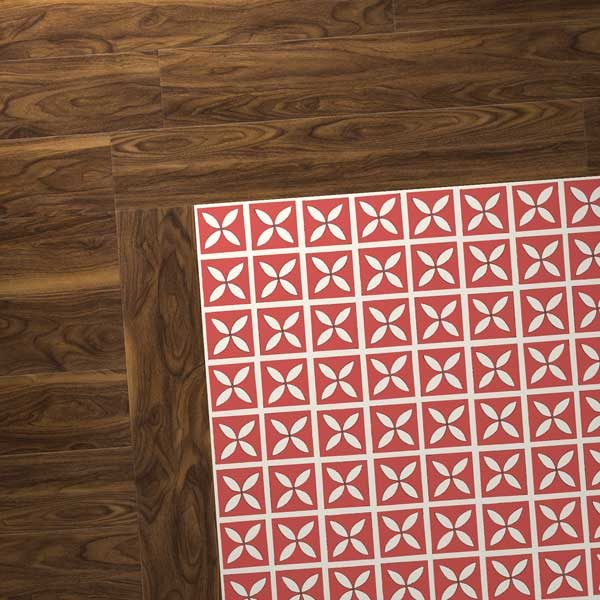 walnut vinyl floor with red designer tiles