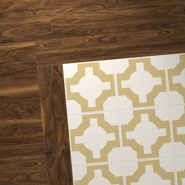 dark wood combo with gold parquet design