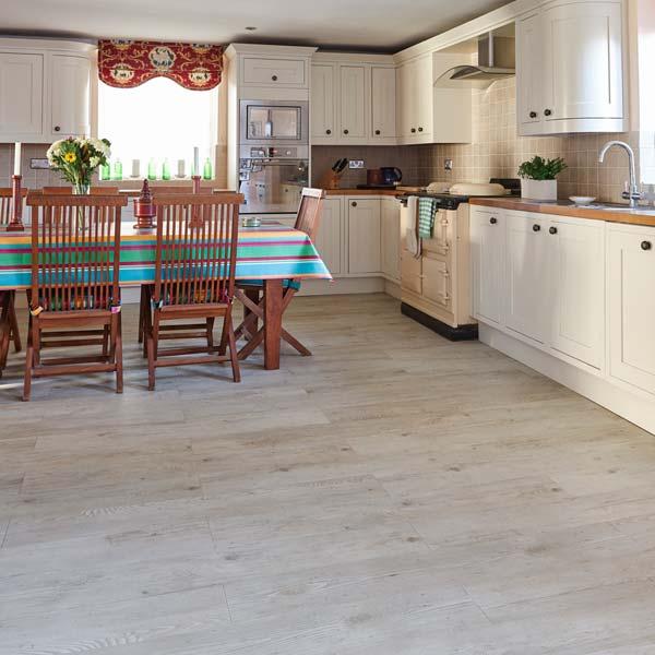White Oak Kitchen: White Wood Effect Vinyl Floor Planks