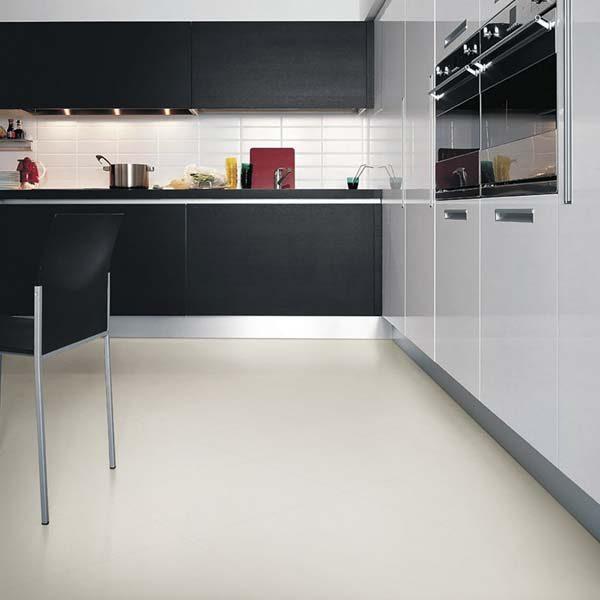 White vinyl flooring in a kitchen
