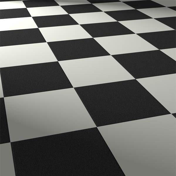 Black and white checkered flooring