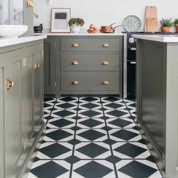 Black pattern kitchen floor