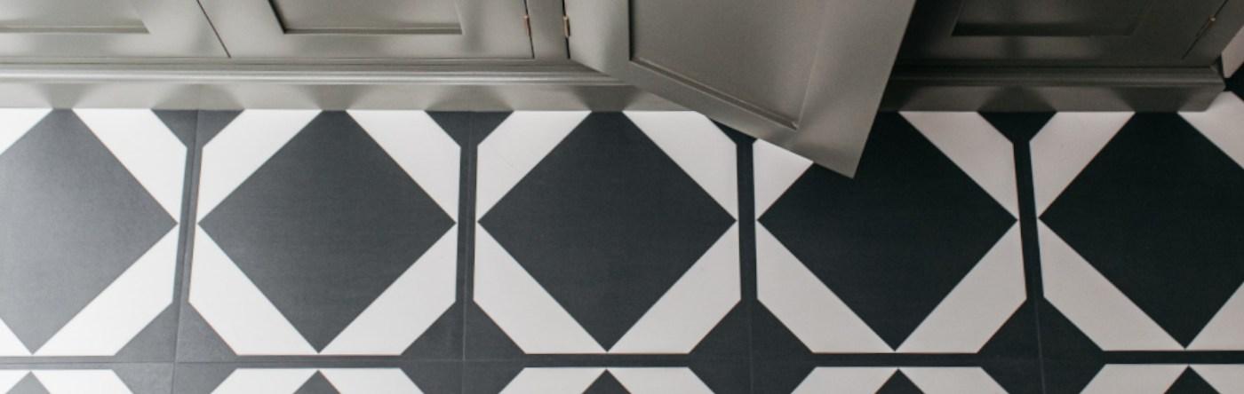Black patterned kitchen flooring