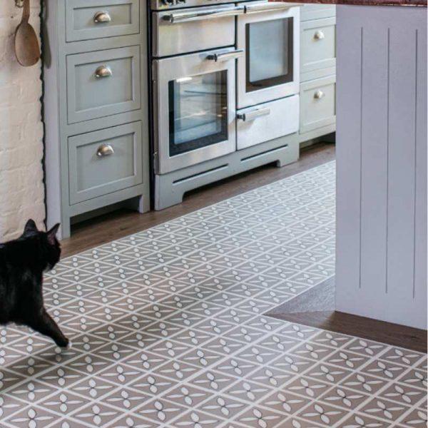 Lattice Seedpod kitchen floor with a wood border